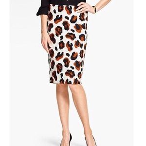 Talbots Leopard Pencil White Skirt Sz 4